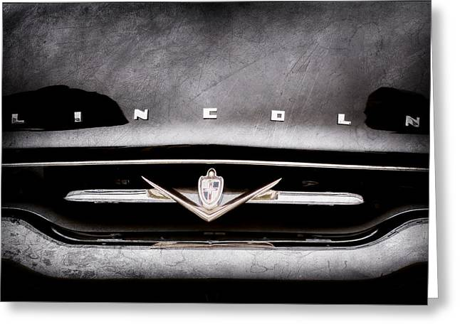 1952 Lincoln Derham Town Car Grille Emblem -0423ac Greeting Card by Jill Reger