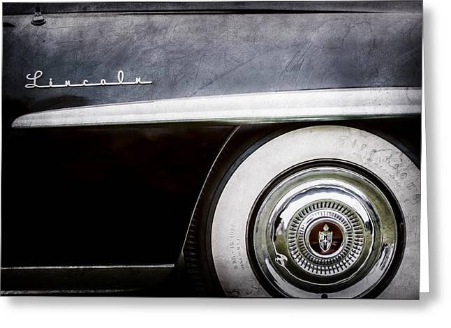1952 Lincoln Derham Town Wheel Emblem -0416ac Greeting Card by Jill Reger