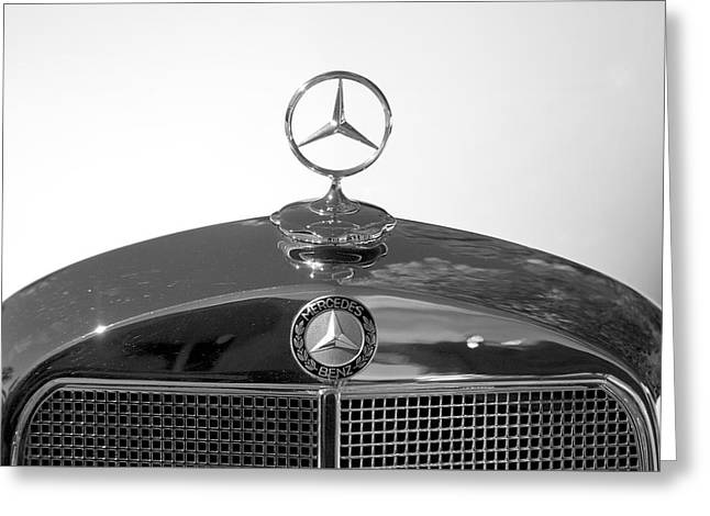 Collector Hood Ornament Greeting Cards - 1952 Mercedes-Benz 220 Hood Emblem Greeting Card by Brooke Roby