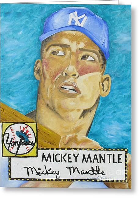 Joseph Palotas Greeting Cards - 1952 Mickey Mantle Rookie Card Original Painting Greeting Card by Joseph Palotas