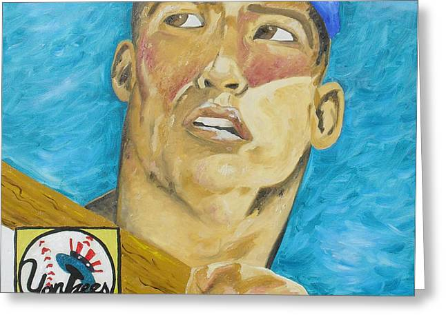 1952 Mickey Mantle Rookie Card Original Painting Greeting Card by Joseph Palotas