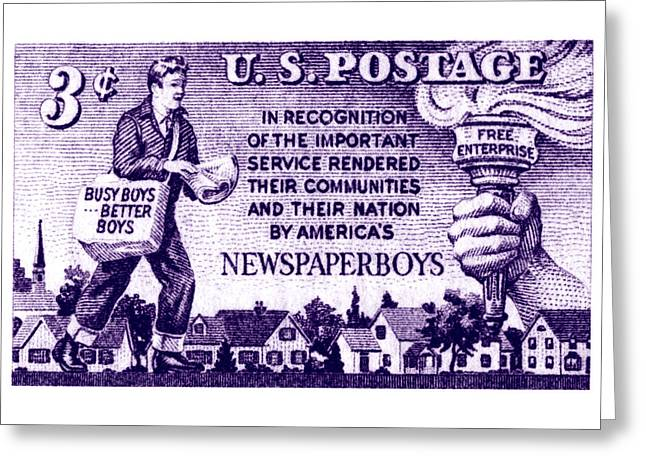 Enterprise Paintings Greeting Cards - 1952 Newspaper Boys Stamp Greeting Card by Historic Image