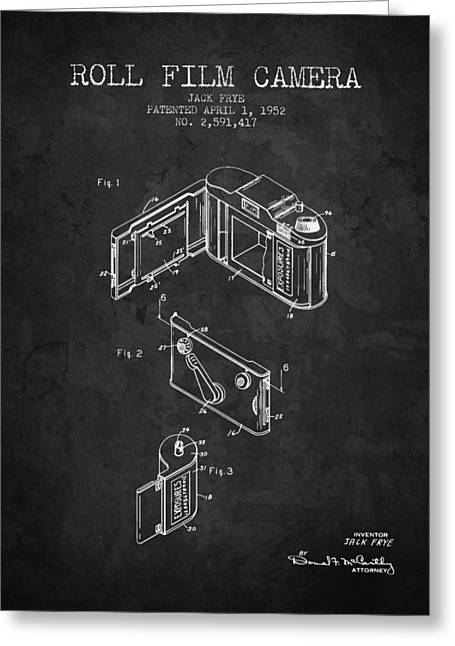 Camera Greeting Cards - 1952 Roll film camera patent - Charcoal - NB Greeting Card by Aged Pixel