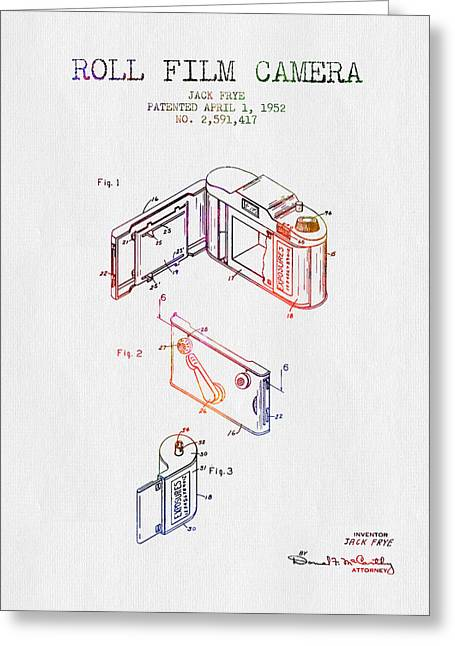 Famous Photographer Drawings Greeting Cards - 1952 Roll Film Camera Patent - Color Greeting Card by Aged Pixel