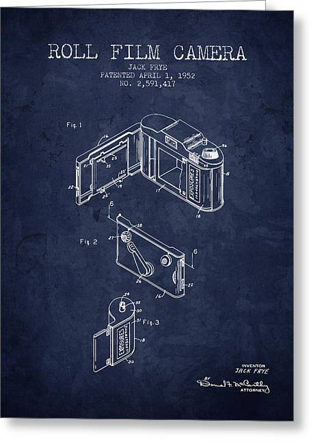 Camera Greeting Cards - 1952 Roll film camera patent - Navy Blue - NB Greeting Card by Aged Pixel