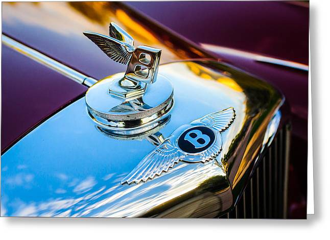 Famous Photographer Greeting Cards - 1953 Bentley R-Type Hood Ornament - Emblem -0271c Greeting Card by Jill Reger