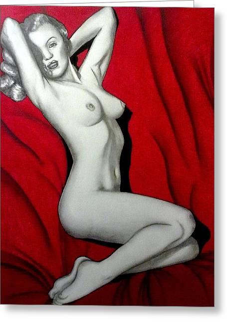Nude Monroe Greeting Cards - 1953 Marilyn Monroe Playboy Centerfold Drawing Greeting Card by Linda Mae