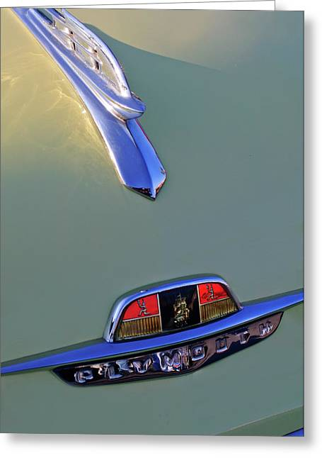Vintage Hood Ornaments Greeting Cards - 1953 Plymouth Hood Ornament Greeting Card by Jill Reger