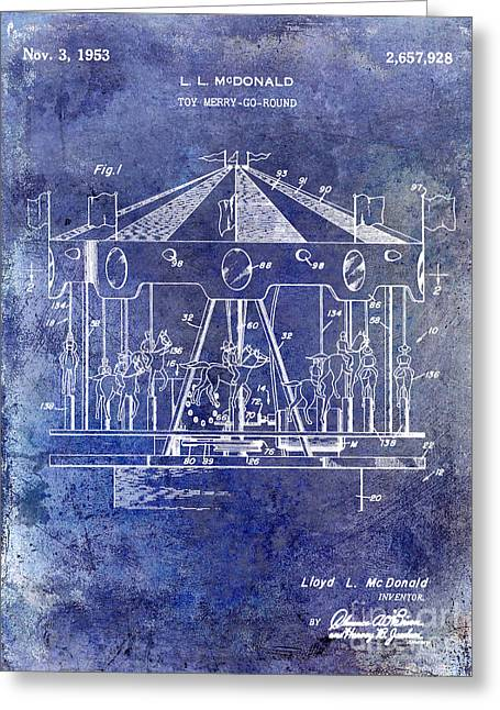 Merry Go Round Greeting Cards - 1953 Toy Merry Go Round Patent Blue Greeting Card by Jon Neidert