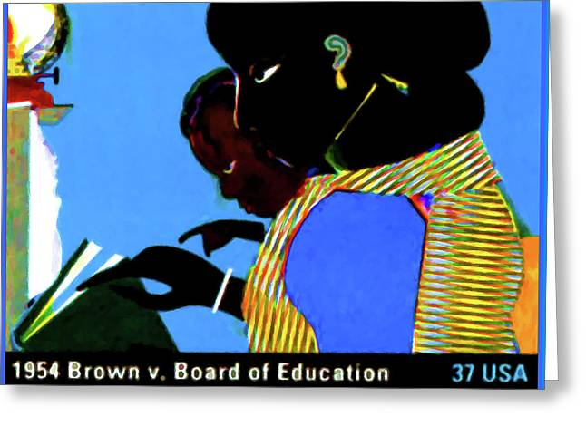 Discrimination Paintings Greeting Cards - 1954 Brown vs Board of Education Greeting Card by Lanjee Chee