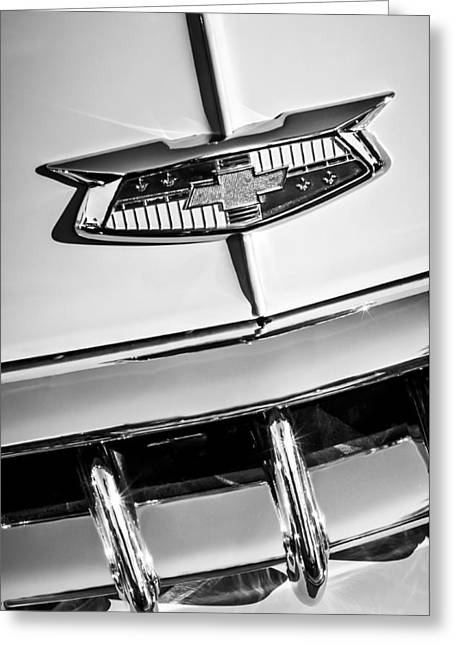 Famous Photographer Greeting Cards - 1954 Chevrolet Belair Emblem -0431bw Greeting Card by Jill Reger