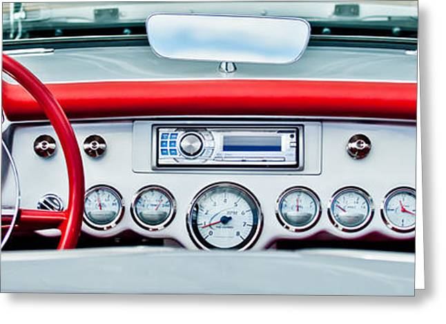 Steering Wheel Greeting Cards - 1954 Chevrolet Corvette Dashboard Greeting Card by Jill Reger