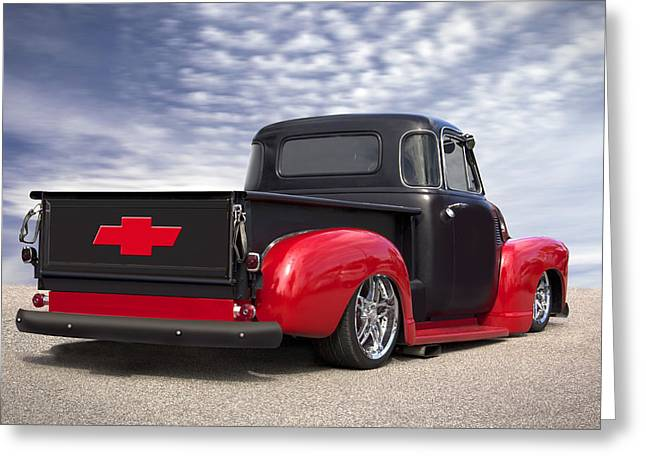 Classic Truck Greeting Cards - 1954 Chevy Truck Lowrider Greeting Card by Mike McGlothlen