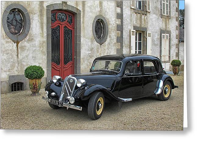 French Doors Greeting Cards - 1954 Citroen Traction Greeting Card by Dave Mills