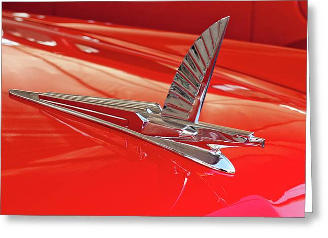 Car Mascot Greeting Cards - 1954 Ford Cresline Sunliner Hood Ornament 2 Greeting Card by Jill Reger