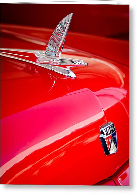 Recently Sold -  - Collector Hood Ornament Greeting Cards - 1954 Ford Crestliner Sunliner Hood Ornament - Emblem Greeting Card by Jill Reger