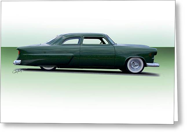 Slam Greeting Cards - 1954 Ford Customline Coupe Greeting Card by Dave Koontz