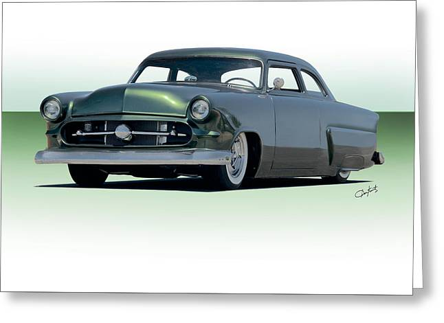 Slam Greeting Cards - 1954 Ford Customline Coupe II Greeting Card by Dave Koontz