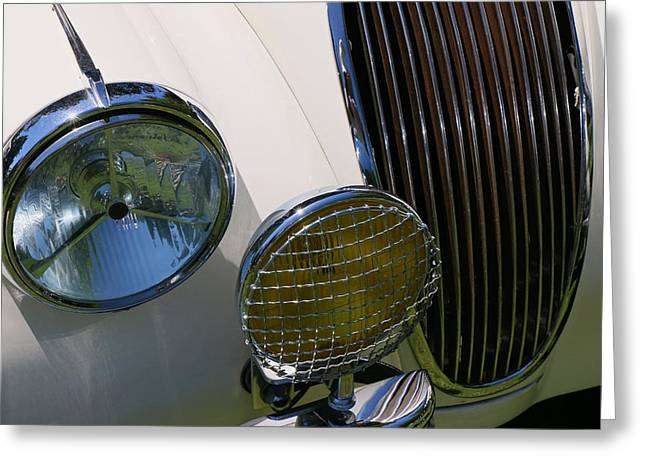 Collector Hood Ornament Greeting Cards - 1954 Jaguar X K 120 Greeting Card by Allen Beatty