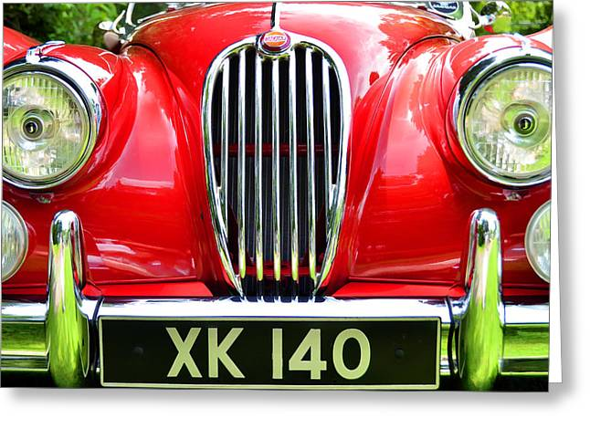 Collector Hood Ornament Greeting Cards - 1954 Jaguar X K 140 Greeting Card by Allen Beatty
