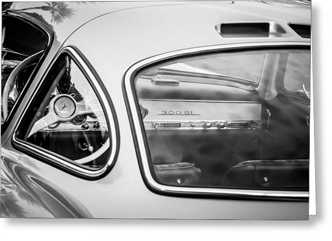 Famous Photographer Greeting Cards - 1954 Mercedes-Benz 300SL Gullwing Steering Wheel -0142bw Greeting Card by Jill Reger