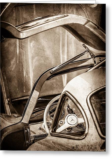 1954 Mercedes-benz 300sl Gullwing Steering Wheel -1653s Greeting Card by Jill Reger