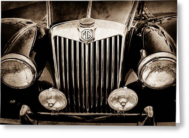 1954 Mg Tf Grille Emblem -0165s Greeting Card by Jill Reger