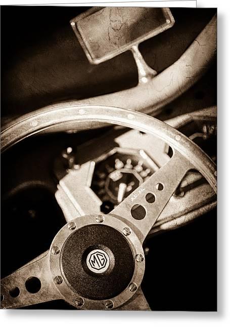 1954 Mg Tf Steering Wheel Emblem -0920s Greeting Card by Jill Reger
