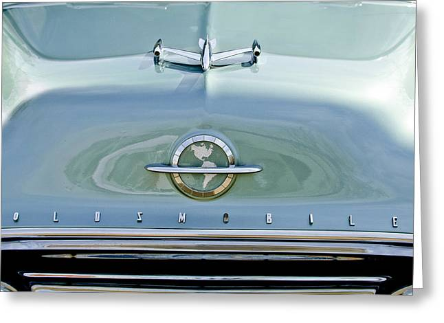 Car Hood Ornament Photographs Greeting Cards - 1954 Oldsmobile Super 88 Hood Ornament 3 Greeting Card by Jill Reger