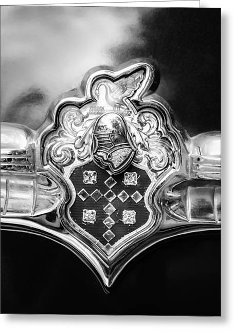 Patrician Greeting Cards - 1954 Patrician Packard Emblem -004bw Greeting Card by Jill Reger