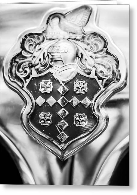 Patrician Greeting Cards - 1954 Patrician Packard Emblem -044bw Greeting Card by Jill Reger