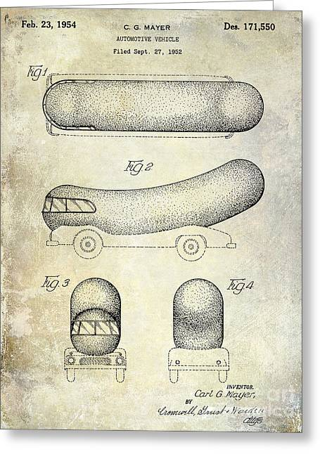 Hot Dog Greeting Cards - 1954 Weiner Mobile Patent Greeting Card by Jon Neidert