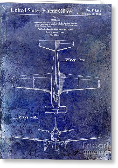 Antique Airplane Greeting Cards - 1955  Airplane Patent Drawing 2 Blue Greeting Card by Jon Neidert