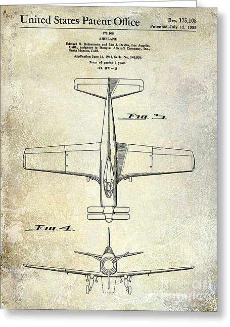 Antique Airplane Greeting Cards - 1955  Airplane Patent Drawing 2 Greeting Card by Jon Neidert