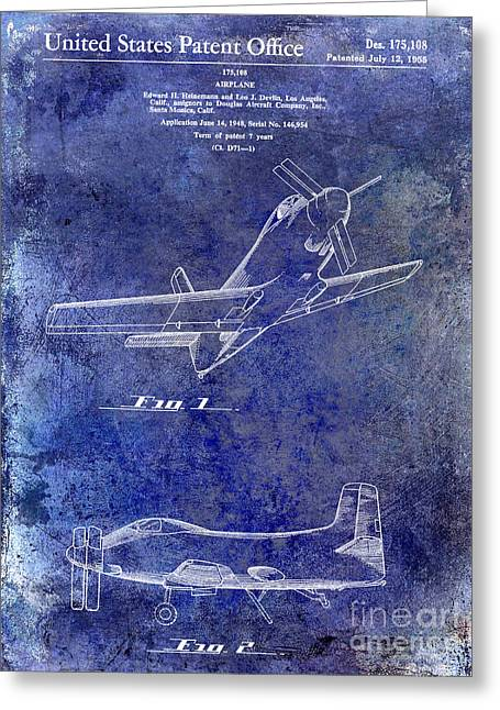 Antique Airplane Greeting Cards - 1955  Airplane Patent Drawing Blue Greeting Card by Jon Neidert