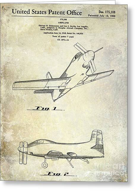 Antique Airplane Greeting Cards - 1955  Airplane Patent Drawing Greeting Card by Jon Neidert