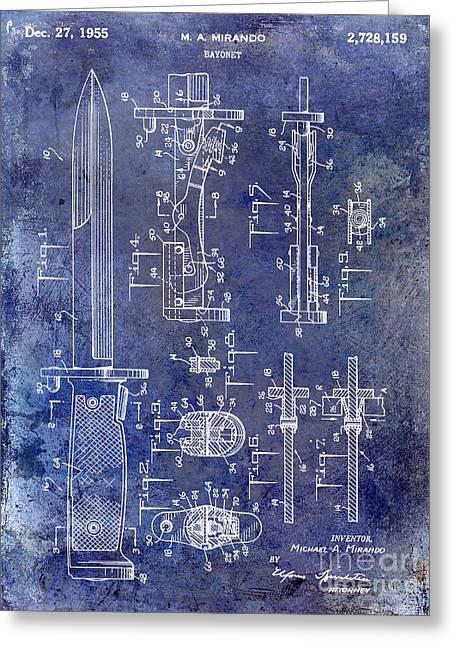 Bayonet Photographs Greeting Cards - 1955 Bayonet Patent Blue Greeting Card by Jon Neidert
