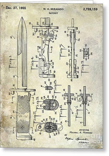 Bayonet Photographs Greeting Cards - 1955 Bayonet Patent Greeting Card by Jon Neidert