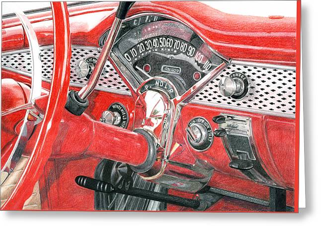 Photorealism Drawings Greeting Cards - 1955 Chevrolet Bel Air Greeting Card by Rob De Vries