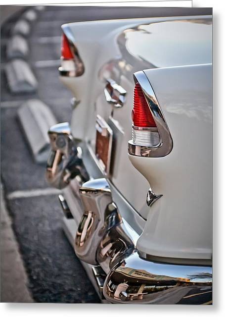 Tail Light Greeting Cards - 1955 Chevrolet Belair Tail Lights Greeting Card by Jill Reger