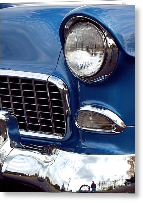 Blue Car. Greeting Cards - 1955 Chevy Front End Greeting Card by Anna Lisa Yoder