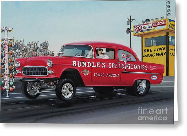 Dragway Greeting Cards - 1955 Chevy Gasser Greeting Card by Paul Kuras