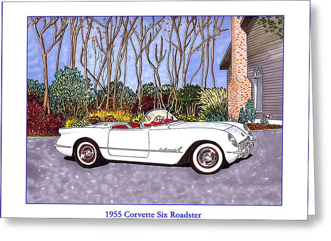 1955 Drawings Greeting Cards - 1955 Corvette Six Roadster Greeting Card by Jack Pumphrey