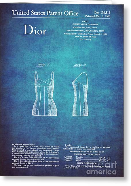 1955 Dior Combination Garment Design 1 Greeting Card by Nishanth Gopinathan