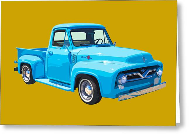 Classic Pickup Greeting Cards - 1955 Ford F100 Blue Pickup Truck Canvas Greeting Card by Keith Webber Jr