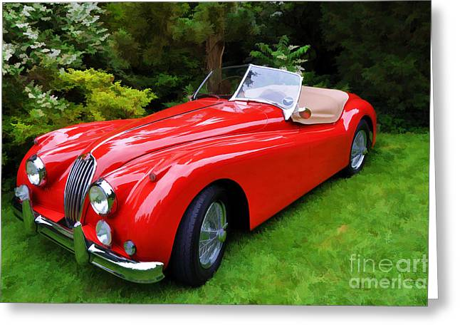 Collector Hood Ornament Greeting Cards - 1955 Jaguar X K   140 MC Greeting Card by Allen Beatty