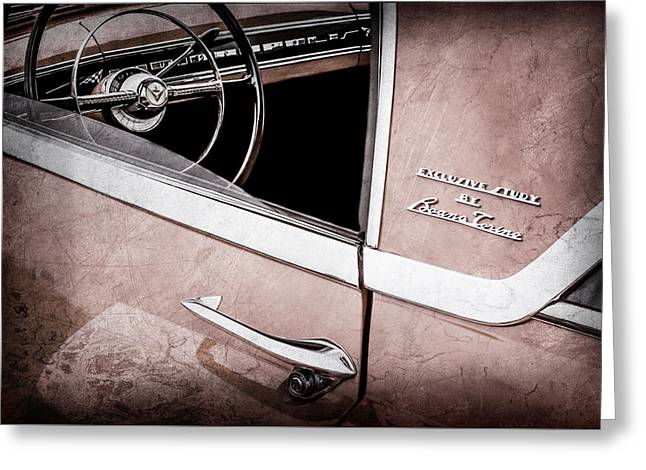 1955 Lincoln Indianapolis Boano Coupe Side Emblem - Steering Wheel -0358ac Greeting Card by Jill Reger