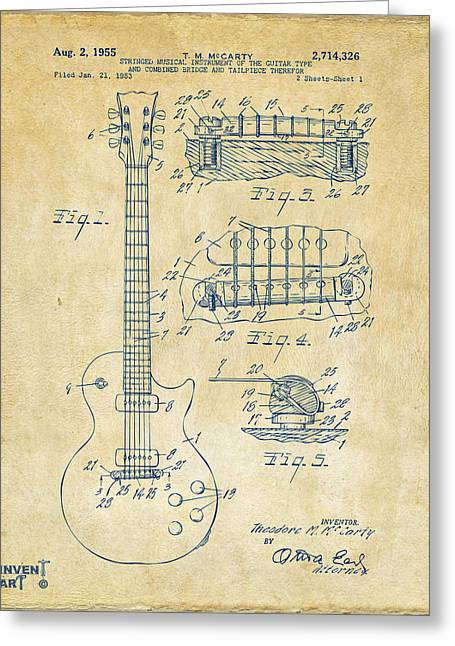 Player Drawings Greeting Cards - 1955 McCarty Gibson Les Paul Guitar Patent Artwork Vintage Greeting Card by Nikki Marie Smith
