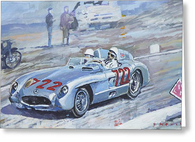 Moss Greeting Cards - 1955 Mercedes Benz 300 SLR Moss Jenkinson winner Mille Miglia 01-02 Greeting Card by Yuriy Shevchuk