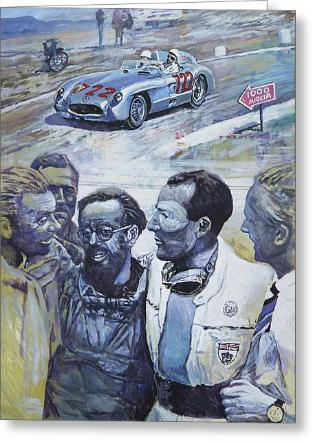 Moss Greeting Cards - 1955 Mercedes Benz 300 SLR Moss Jenkinson winner Mille Miglia  Greeting Card by Yuriy Shevchuk